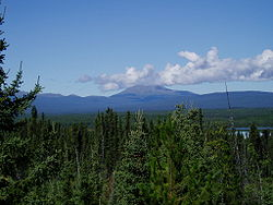 Mount Edziza, a massive shield volcano seen from the Stewart-Cassiar Highway
