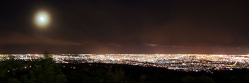 View of Adelaide at night from Mount Lofty