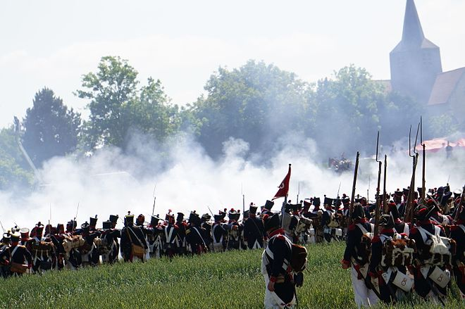 Ricard's division goes into action near Marchais during a re-enactment of the battle. Mousqueterie 05639.JPG