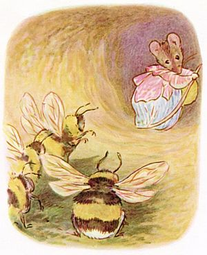 Insects in literature - Beatrix Potter's illustration of Babbity Bumble in The Tale of Mrs Tittlemouse, 1910