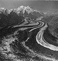 Muldrow Glacier, valley glacier with winding terminus, August 1957 (GLACIERS 5175).jpg