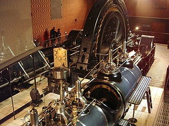Brown, Boveri & Cie - Sulzer steam engine and Brown-Boveri alternator from 1901 in the Electropolis museum in Mulhouse. France