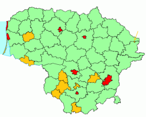 A map of the types of municipalities of Lithuania