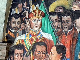 Detail of a Mural by Diego Rivera at the National Palace of Mexico showing the ethnic differences between Agustin de Iturbide, a criollo, and the multiracial Mexican court Murales Rivera - Treppenhaus 3 Kaiser Maximilian.jpg