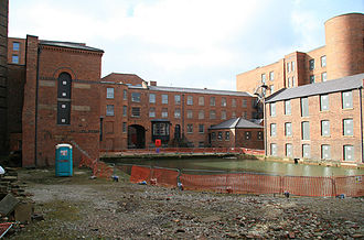 Murrays' Mills - The interior of the quadrangle of Murrays' Mills. In the foreground is the private basin attached to the Rochdale Canal.