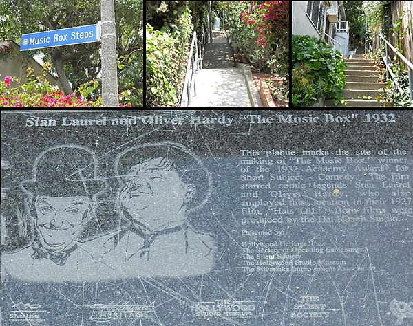 Filming location and plaque at site of Laurel and Hardy's The Music Box (1932) Music Box steps montage.jpg