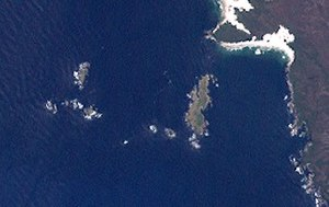 Mutton Bird Island - A Landsat image of the Mutton Bird Islands Group; the Mutton Bird Island is the largest island that is located closest to the coast.