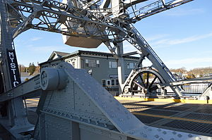 Mystic River Bascule Bridge - Looking at the bridge from the east side of the street.