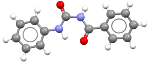 N-Benzoyl-N'-phenylurea - Image: N Benzoyl N' phenylurea X ray 3D balls