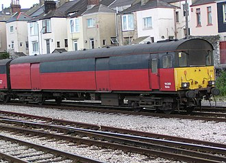 Propelling Control Vehicle - NAA 94308 on a train being propelled into Plymouth station on 29 August 2003. This vehicle is in unbranded Rail Express Systems livery.
