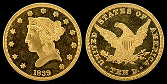 Eagle (United States coin) - Image: NNC US 1839 G$10 Liberty Head (old style)