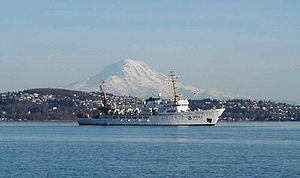 NOAAS Rainier (S 221) - NOAAS Rainier (S 221) with her namesake, Mount Rainier, in the background.