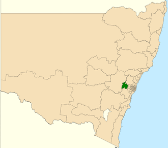 Electoral district of Blue Mountains - Location in New South Wales