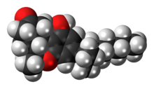 Space-filling model of the nabilone molecule