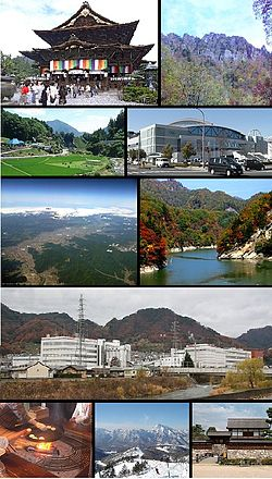 From top of left, Zenkoji, Mount Togakushi, Kinasa village, Nagano Big Hat arena, Airial in Kawanakajima, Oku-Subana Valley, Marukome, which headquarter in Nagano, and famous for miso product company in Japan, Oyaki Japanese sweets, Togakushi ski place, and Matsushiro Castle