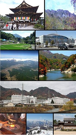 Nagano, Nagano - From top of left, Zenkoji, Mount Togakushi, Kinasa village, Nagano Big Hat arena, Airial in Kawanakajima, Oku-Subana Valley, Marukome, which headquarter in Nagano, and famous for miso product company in Japan, Oyaki Japanese sweets, Togakushi ski place, and Matsushiro Castle
