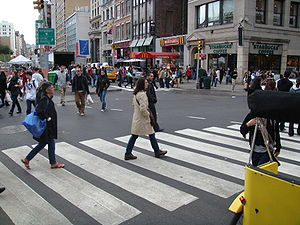 Pedestrian scramble - Pedestrian scramble at New York City's Union Square