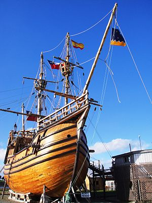 Strait of Magellan - A replica of ''Victoria'', one of Magellan's ships, in the Museo Nao Victoria, Punta Arenas. Chile