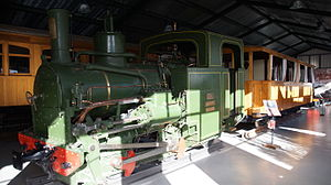 La Pobla de Lillet - Steam locomotive with 600 mm gauge of Ateliers de Construction de la Meuse in Liege (Belgium), 1901