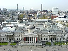 National Gallery from atop Nelson's Column, Trafalgar Square, London - geograph.org.uk - 287253.jpg