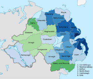 People of Northern Ireland - Map of districts of Northern Ireland colour coded to show the predominant national identity. Stronger green indicates a higher proportion of people describing themselves as Irish. Stronger blue indicates a higher proportion of people describing themselves as British. Percentages show the difference between the proportion of people describing themselves as Irish and the proportion of people describing themselves as British. Data from 2011 census