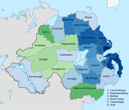 List of districts in northern ireland by national identity wikipedia map of districts of northern ireland colour coded to show the predominant national identity in the 2011 census stronger green indicates a higher proportion gumiabroncs Image collections