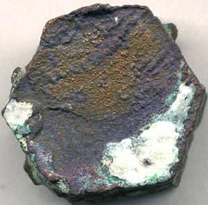 Pseudomorph - Native copper pseudomorph after aragonite, with red cuprite and green malachite alteration