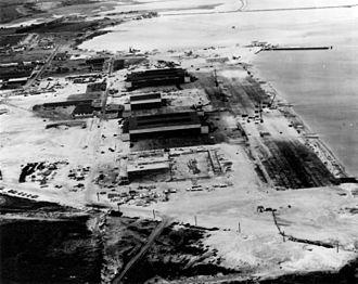 Marine Corps Base Hawaii -  Aerial photograph of Naval Air Station Kaneohe Bay two days after the Attack on Pearl Harbor