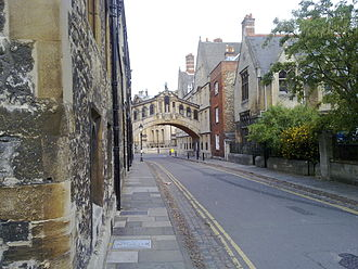 New College Lane - From within the NW end of New College Lane, looking back towards the Bridge of Sighs.