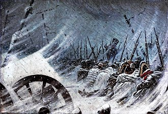 Cold-weather warfare - The Night Bivouac of Napoleon's Army during retreat from Russia in 1812.