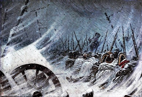 The Grande Armee was devastated by the elements before it reached Krasnoi. Night Bivouac of Great Army.jpg