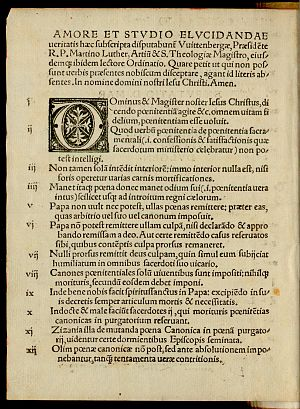 Ninety-five Theses - First page of the 1517 Basel printing of the Theses as a pamphlet