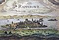 Nordansicht von Rapperswil nach dem Holzschnitt in Stumpfs Chronik, 1635 kolorierter Kupferstich - Stadtmuseum Rapperswil - 'Stadt in Sicht - Rapperswil in Bildern' 2013-10-05 16-04-56.JPG