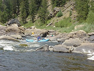 North Platte River - Canoers on the North Platte River near the Colorado - Wyoming border in Northgate Canyon