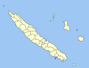 Location o the commune (in reid) within New Caledon