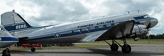Finnair - Finnish Airlines Douglas DC-3 from the late 1940s, restored to original livery at Oulu, (2014)