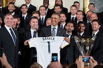 Obama with 2014 LA Galaxy team February 2015.jpg