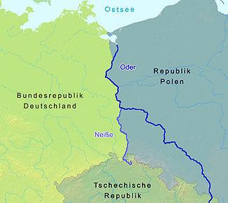 Lage zwischen Deutschland und Polen