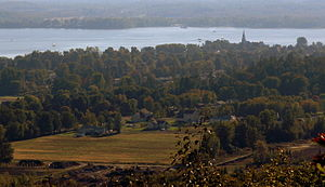 Oka, Quebec - Oka village and Lake of Two Mountains as seen from Mount Oka