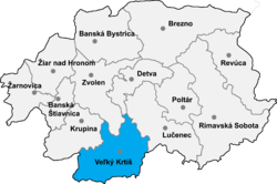 Location of Veļki Krtīšas apriņķis