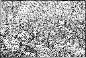 Þorgerðr Hölgabrúðr and Irpa - Clouds cover the sky, daylight becomes sparse, thunder and lightning ring out, and it begins to rain in an illustration of Jómsvíkinga saga (1897) by Halfdan Egedius.