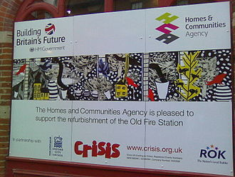 Government of the United Kingdom - Refurbishment notice at Old Fire Station, Oxford, showing HM Government support.