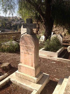 Mount Zion Cemetery, Jerusalem - Grave of Carl Christian Olsen (1815-1892), formerly pastor at the Nore Stave Church, Norway