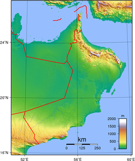 Topographic map of Oman