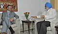 Omar Abdullah meeting the Deputy Chairman, Planning Commission, Shri Montek Singh Ahluwalia for finalization of Annual Plan outlay for 2011-12 of the State, in New Delhi on June 15, 2011.jpg