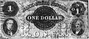 Bank of Indiana - A one-dollar bank note from the Bank of Indiana. Portraits are of Hugh McCulloch and Samuel Merrill.