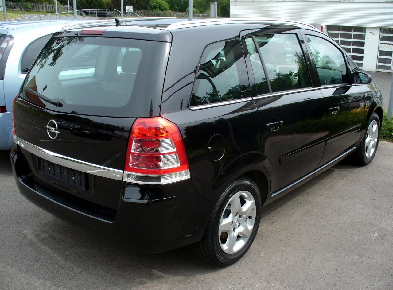 file opel zafira b 1 6 facelift saphirschwarz heck jpg wikimedia commons. Black Bedroom Furniture Sets. Home Design Ideas