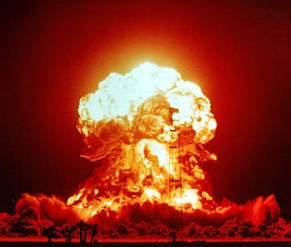 Explosion that occurs as a result of rapid release of energy from a nuclear reaction (fission or fusion)