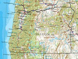 Geographische Karte Oregons