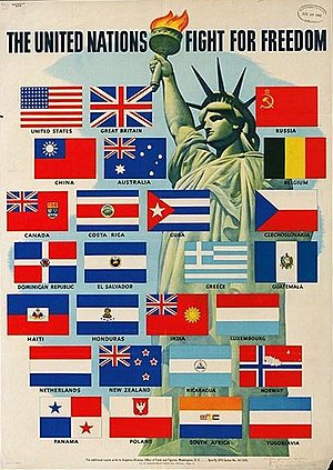 Declaration by United Nations - Wartime poster for the Allies of World War II, created in 1942 by the US Office of War Information, showing the 26 members of the alliance.